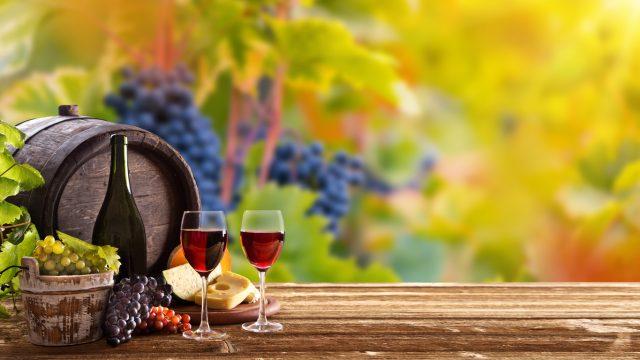 自然の中にワイングラスや樽が置いてある