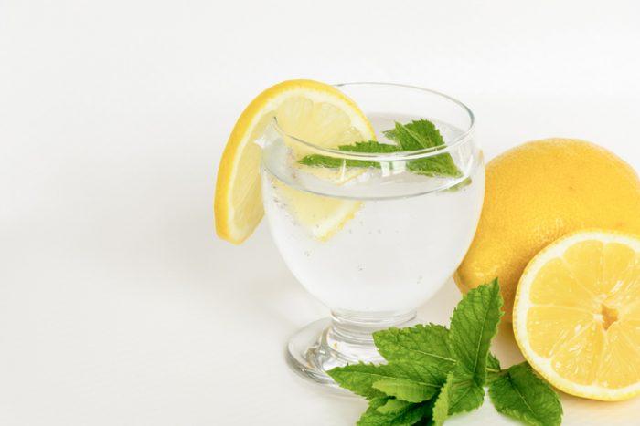 レモンの輪切りとミントの葉を添えたグラスドリンク