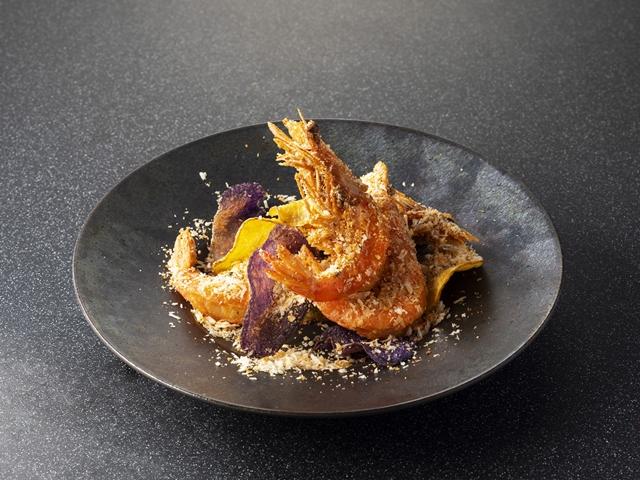 天使の海老の和中華フリット、七味オリエンタルスパイス