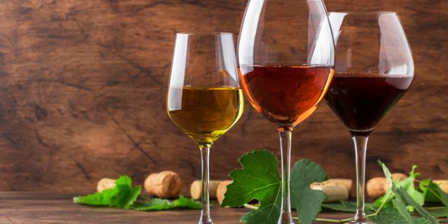 3種類のワイン・ワイングラス