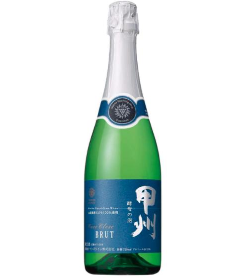 緑色の瓶に甲州と表記された青いラベルのスパークリングワイン