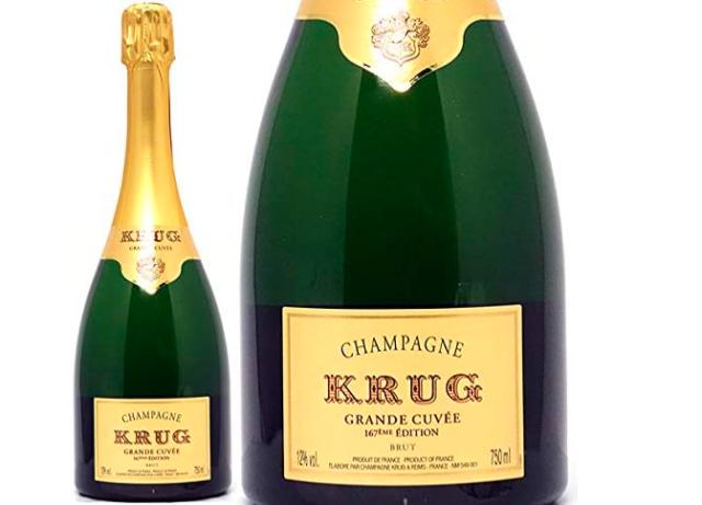 クリュッグ グランド キュヴェのボトルとラベルのアップ