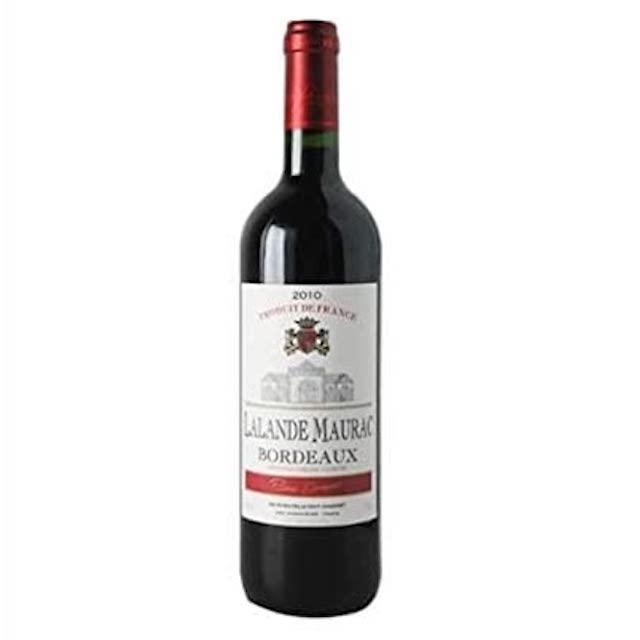 緑色の瓶にLALANDE MAURACのロゴが入った白いラベルの赤ワイン