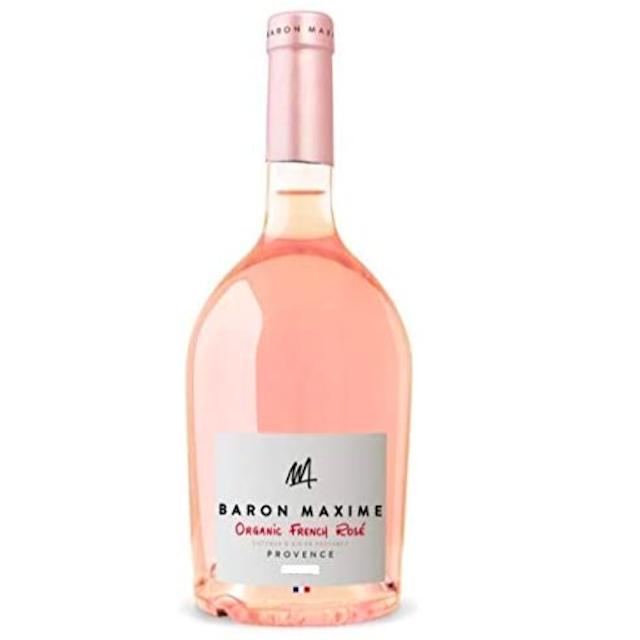 透明の瓶にBARON MAXIMEと記された白いラベルのロゼワイン