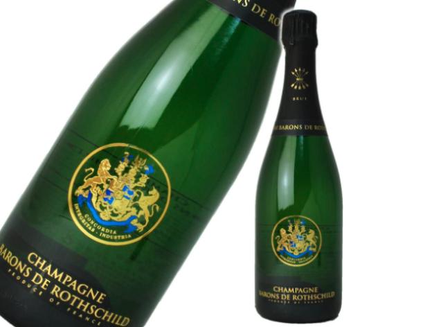 シャンパーニュ・バロン・ド・ロスチャイルド・ブリュットのボトルとラベルのアップ