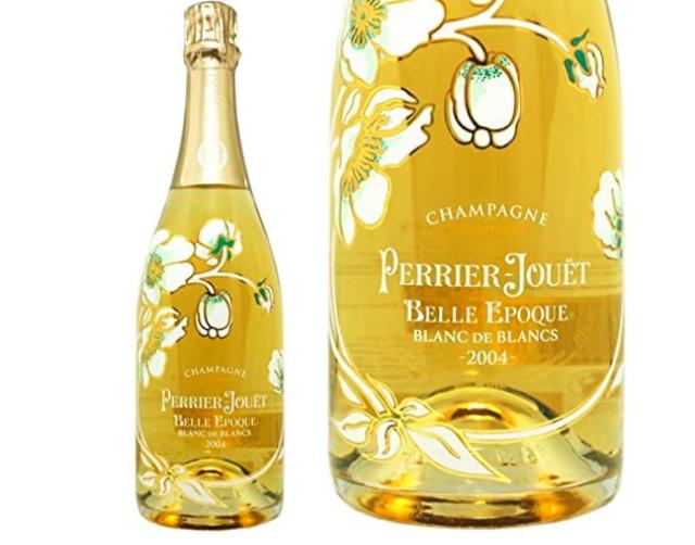 ペリエ ジュエ ベル エポック ブラン・ド・ブランのボトルとボトルのアップ