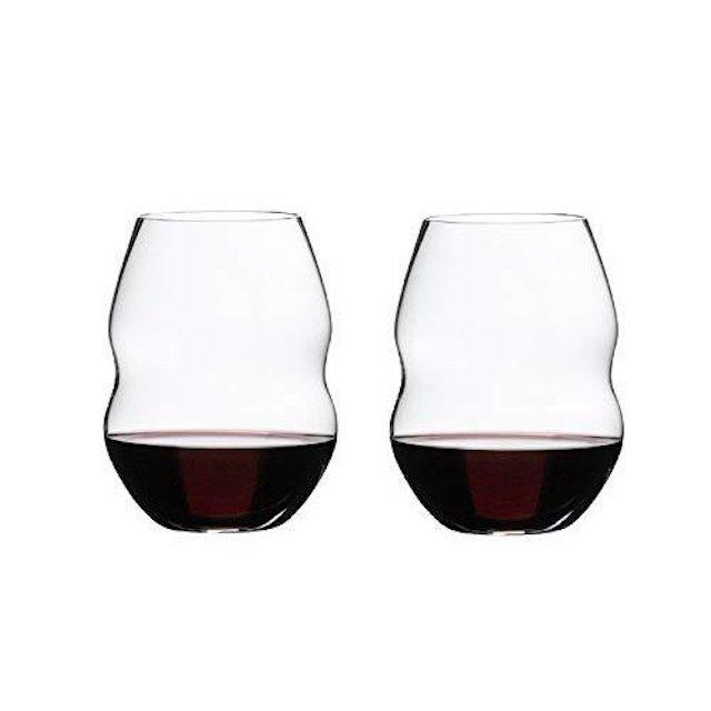 ステムがない真ん中にくぼみがある赤ワイン用グラス2脚