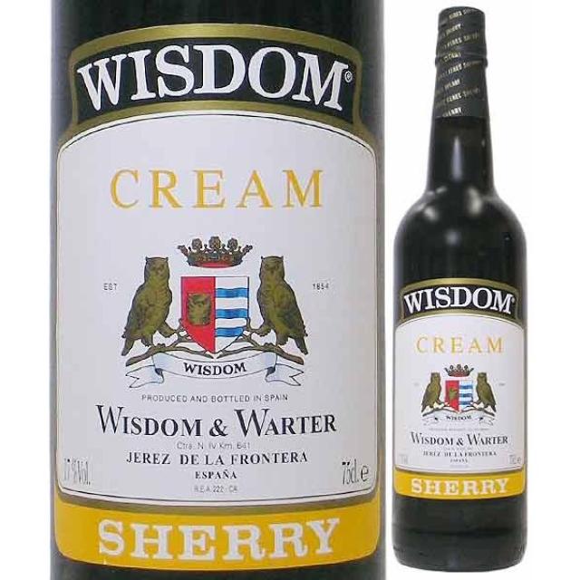 ゴンサレス・ビアス「ウィズダム・クリーム・シェリー」のボトルとラベルのアップ
