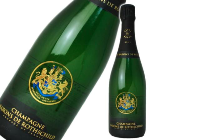 シャンパーニュ・バロン・ド・ロスチャイルド「シャンパーニュ・バロン・ド・ロスチャイルド・ブリュット」のボトルとラベルのアップ