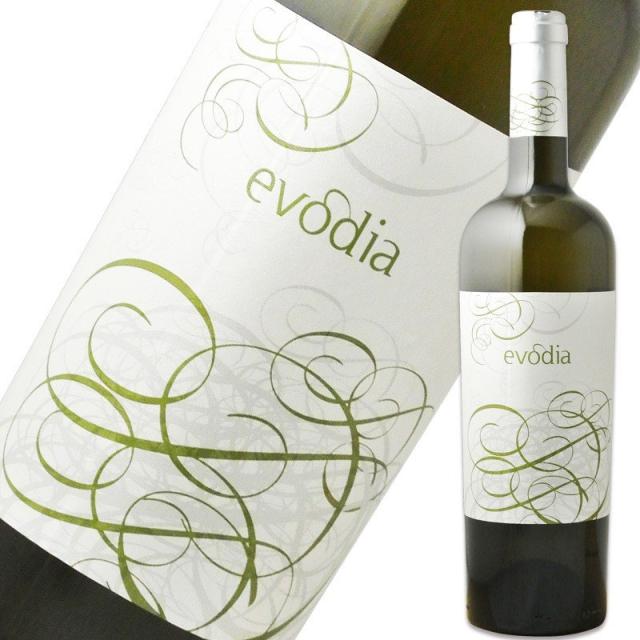 ボデガス・サン・アレハンドロ「エヴォディア 白」のボトルとラベルのアップ