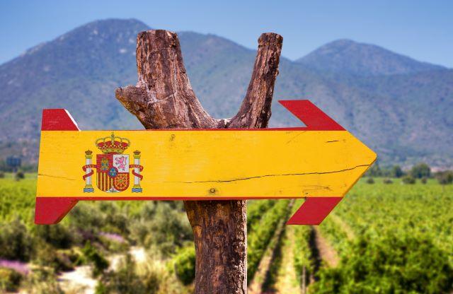 ブドウ畑の前にあるスペイン国旗の看板