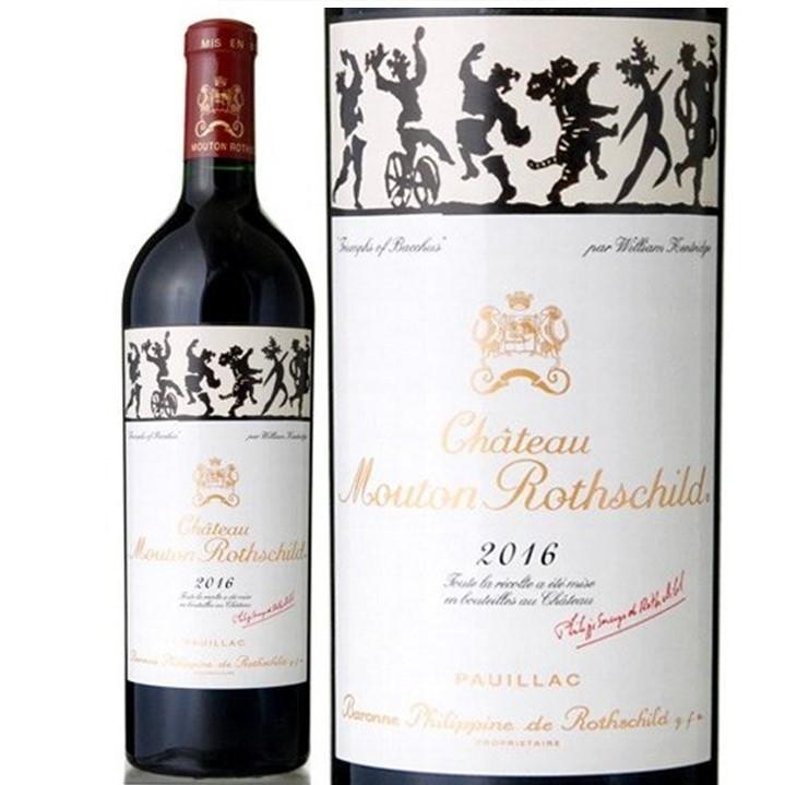 赤ワイン「シャトー・ムートン・ロートシルト 2016」のボトルとラベル