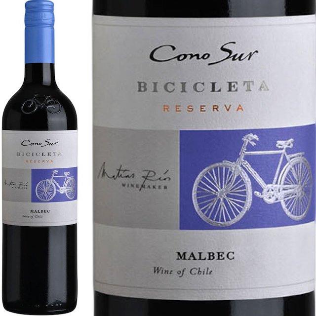 緑色の瓶に自転車が描かれた白いラベルの赤ワイン