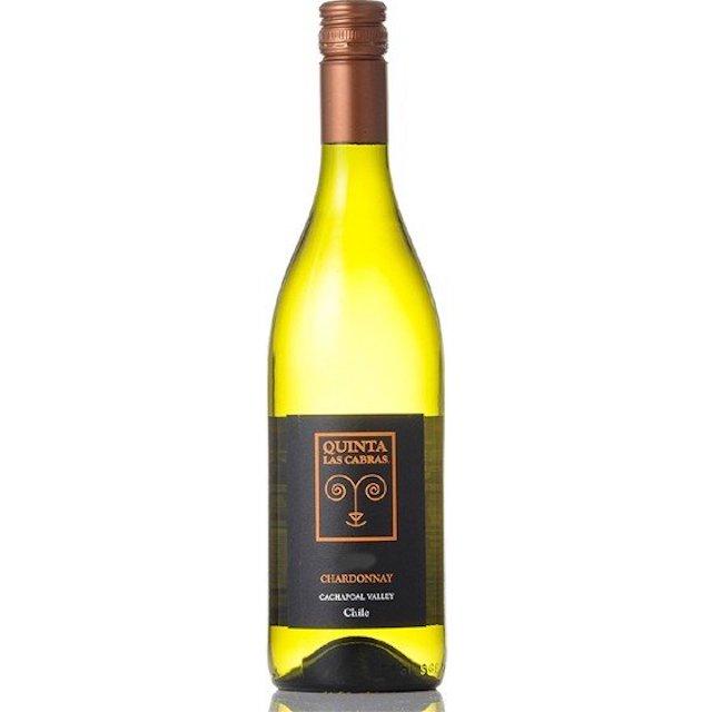 透明の瓶にQUINTA  LAS CABRASと表記された黒ラベルの白ワイン