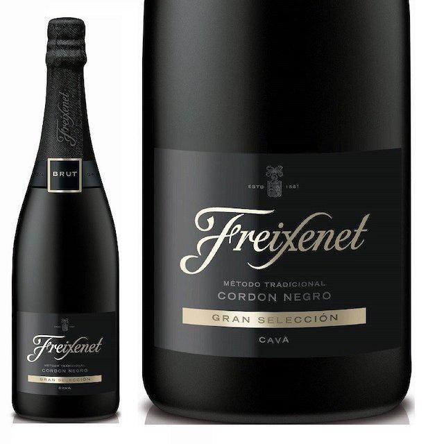 黒色の瓶にFreixenetと表記された黒いラベルのスパークリングワイン