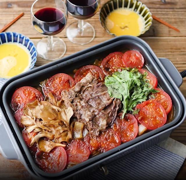 ホットプレートで作るトマトすき焼き