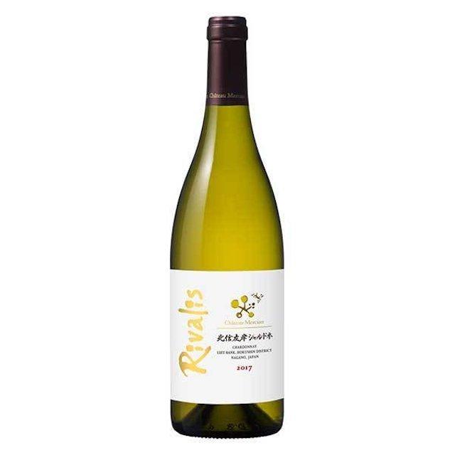 黄緑色の瓶に北信左岸シャルドネと表記された白いラベルの白ワイン